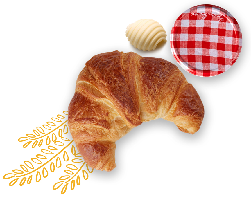 Classic croissant with butter and jam